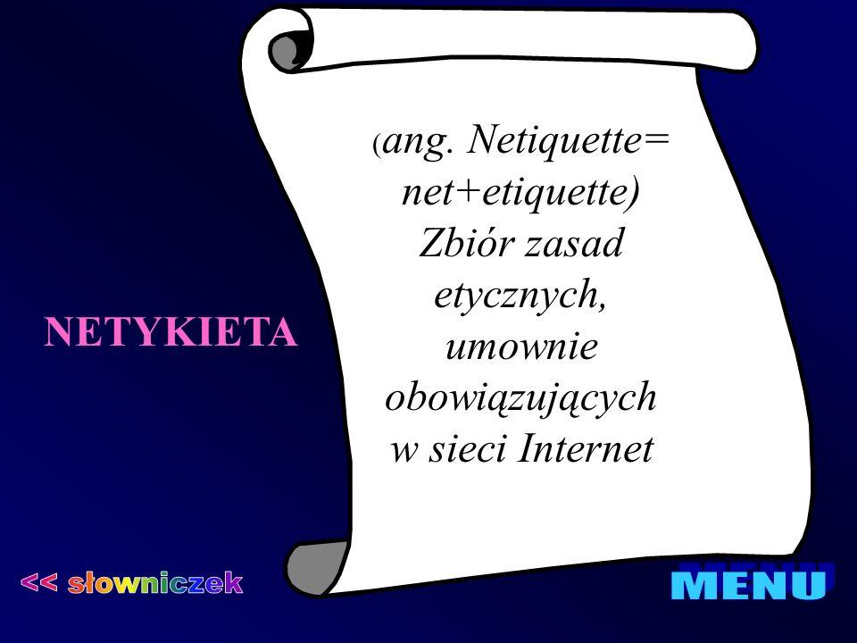 NETYKIETA ( ang. Netiquette= net+etiquette) Zbiór zasad etycznych, umownie obowiązujących w sieci Internet