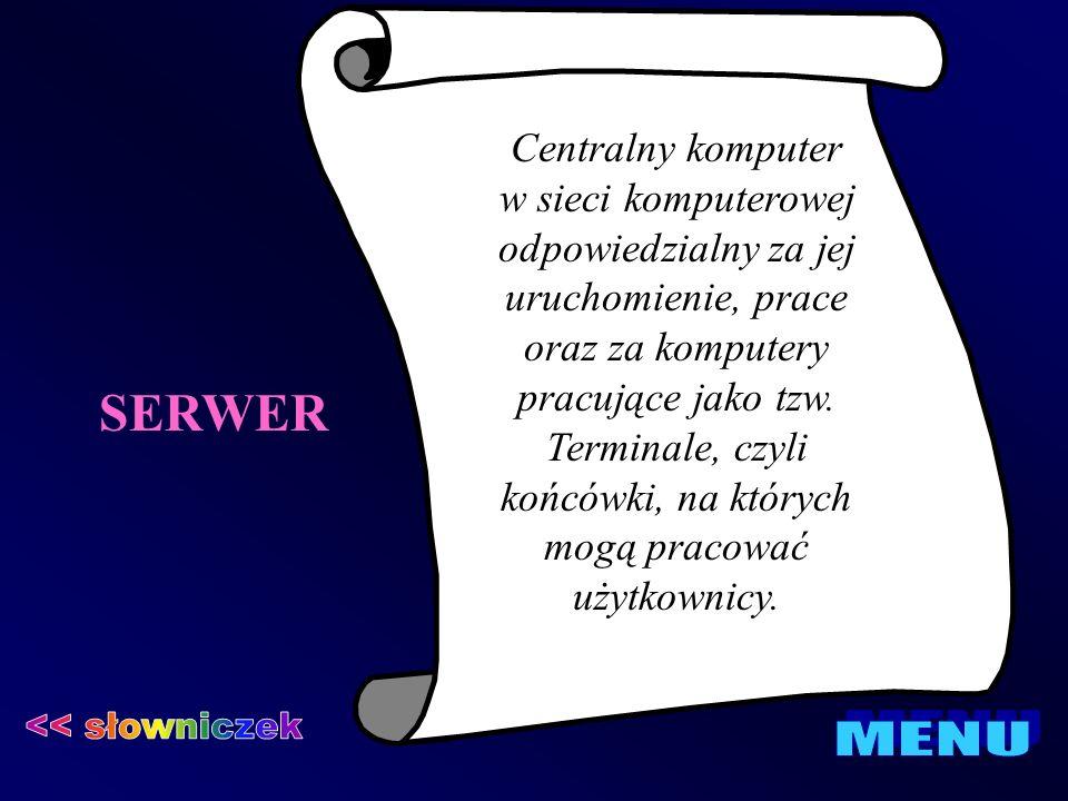SERWER Centralny komputer w sieci komputerowej odpowiedzialny za jej uruchomienie, prace oraz za komputery pracujące jako tzw. Terminale, czyli końców