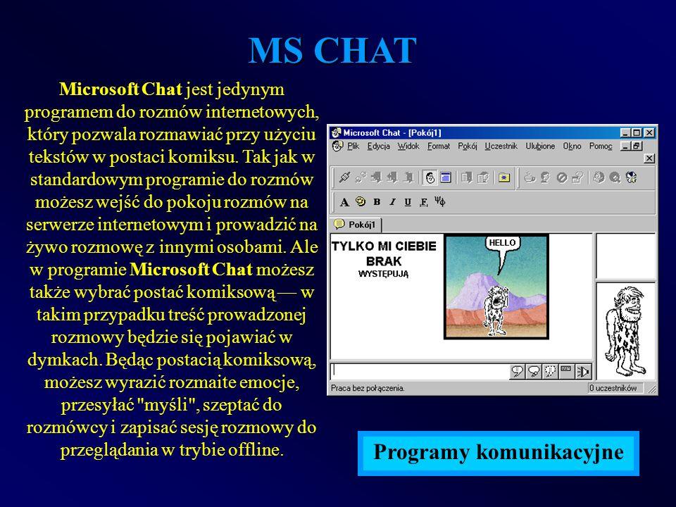 MS CHAT Microsoft Chat jest jedynym programem do rozmów internetowych, który pozwala rozmawiać przy użyciu tekstów w postaci komiksu. Tak jak w standa