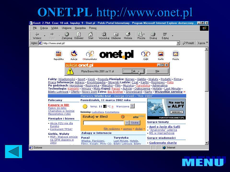 Strona główna Pierwsza strona wyświetlana na serwisie internetowym, pokazana po wpisaniu podstawowego adresu URL serwisu w okno przeglądarki (np.