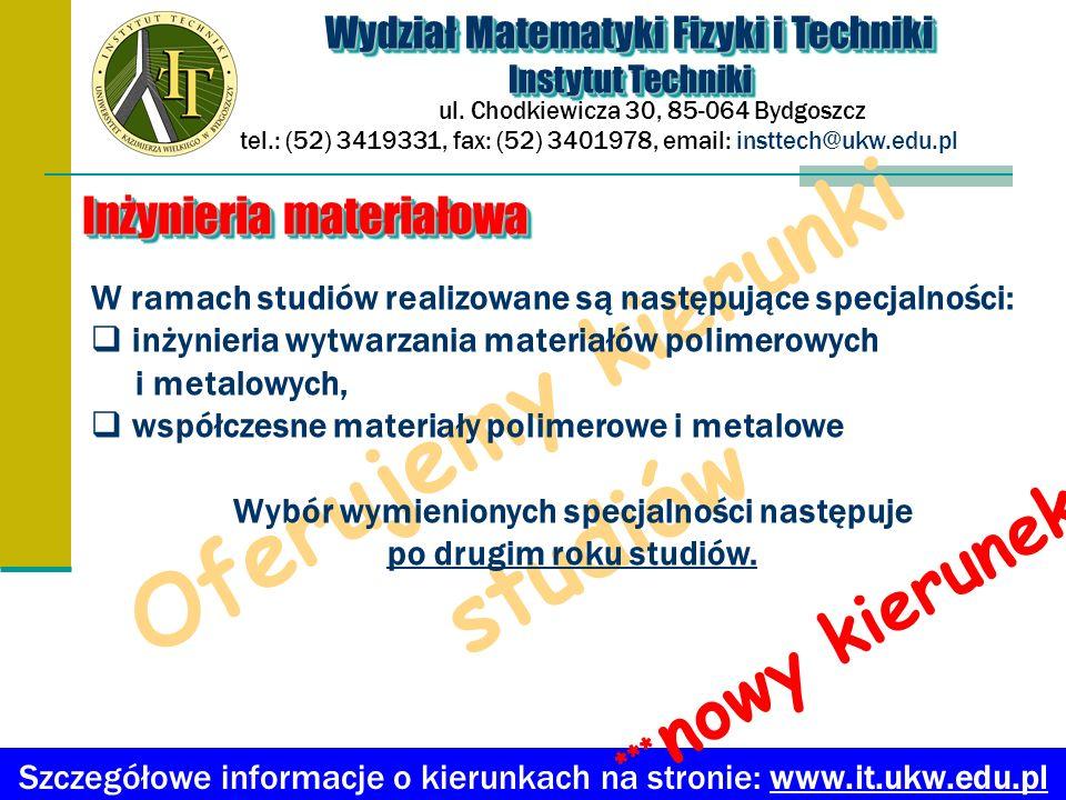 Oferujemy kierunki studiów Wydział Matematyki Fizyki i Techniki Instytut Techniki Wydział Matematyki Fizyki i Techniki Instytut Techniki ul.
