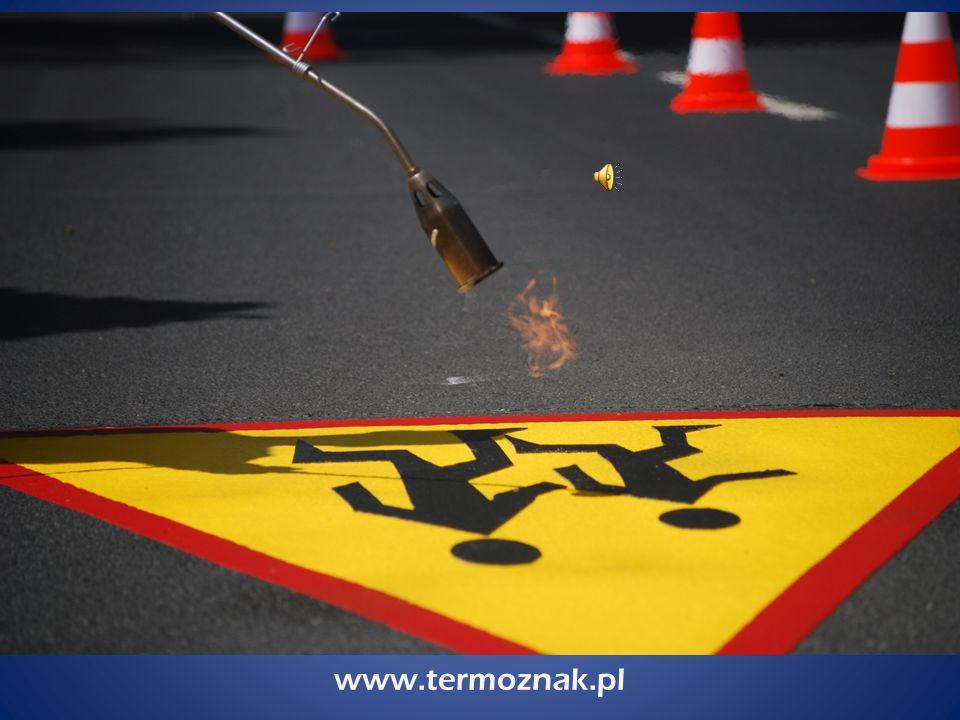 www.termoznak.pl prefabrykowane elementy z mas termoplastycznych służące do poziomego oznakowania grubowarstwowego dróg, ulic, parkingów, placów unikalna technologia zapewniająca wysoką jakość produktu rozwiązanie trwalsze niż tradycyjne oznakowanie grubowarstwowe TERMOZNAK