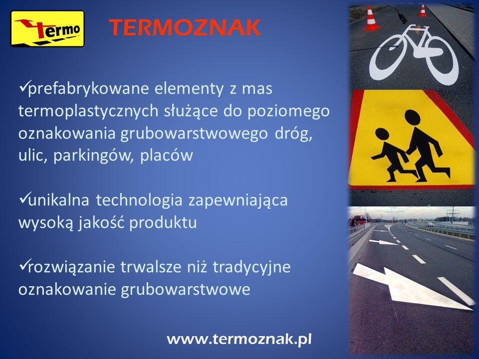 www.termoznak.pl prefabrykowane elementy z mas termoplastycznych służące do poziomego oznakowania grubowarstwowego dróg, ulic, parkingów, placów unika
