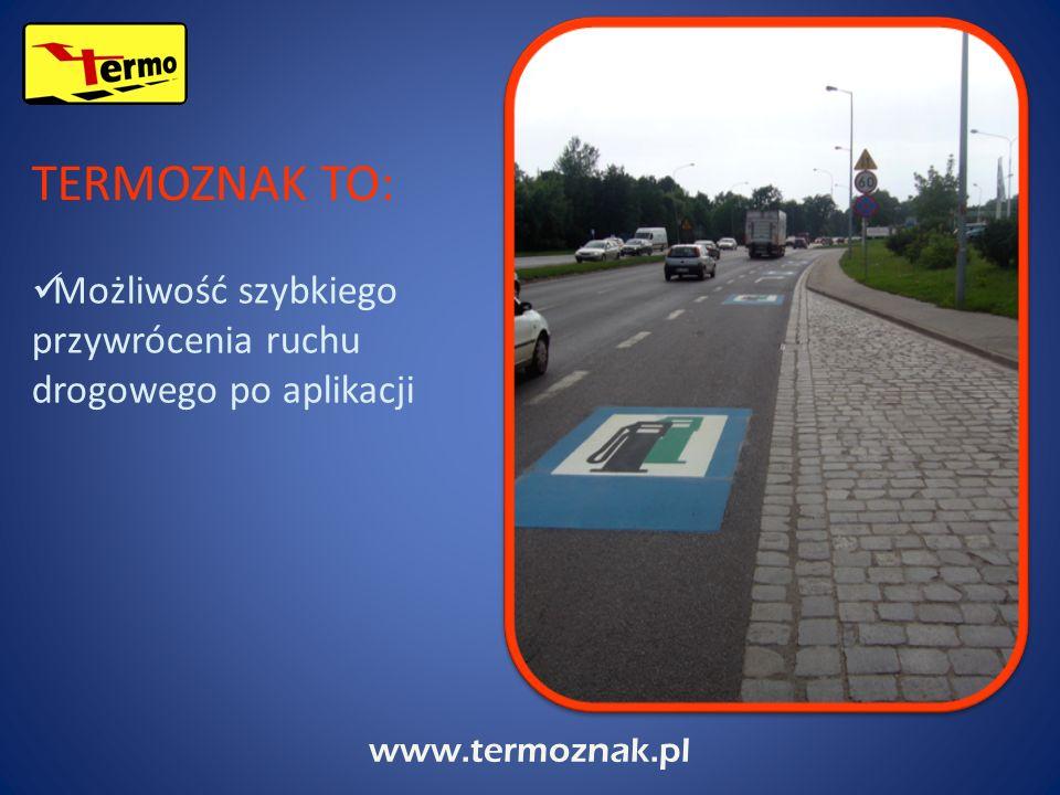 www.termoznak.pl Linie, strzałki i przejścia dla pieszych, W skład naszej oferty wchodzą: Kolorowe i jednobarwne piktogramy o różnym kształcie, Napisy i znaki firmowe, Klasy i kolorowe wzory na potrzeby szkolne, Piktogramy wg indywidualnych potrzeb klientów.