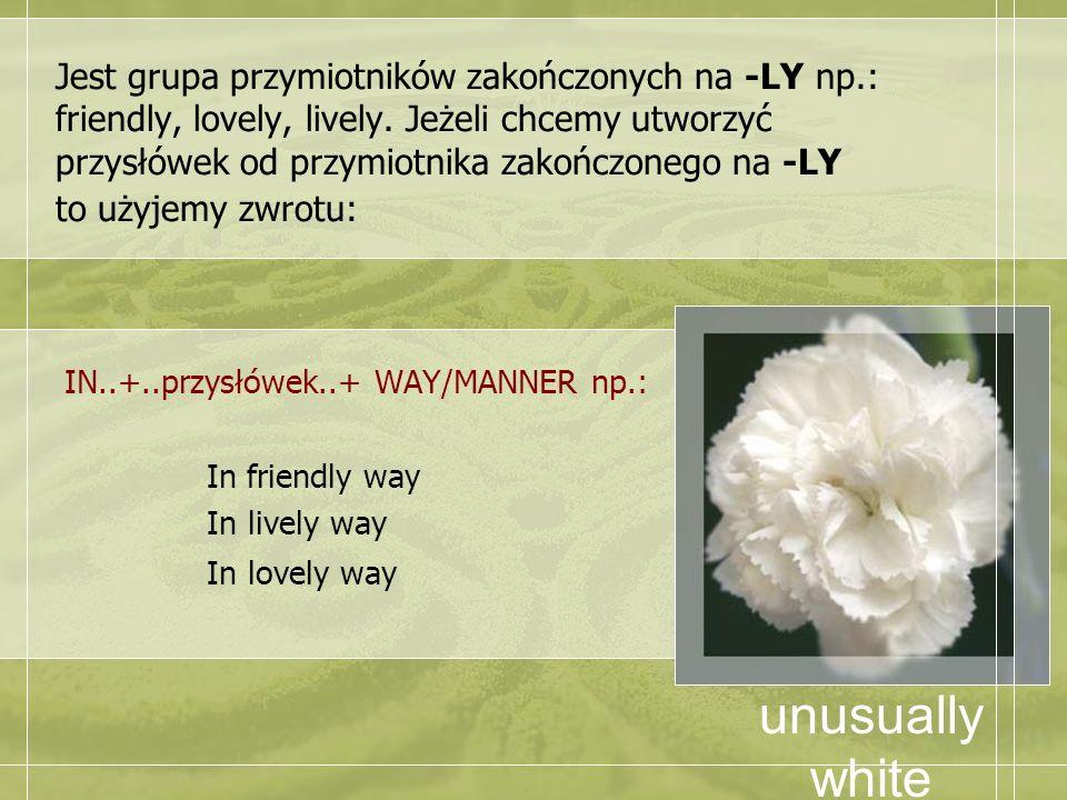 Jest grupa przymiotników zakończonych na -LY np.: friendly, lovely, lively. Jeżeli chcemy utworzyć przysłówek od przymiotnika zakończonego na -LY to u
