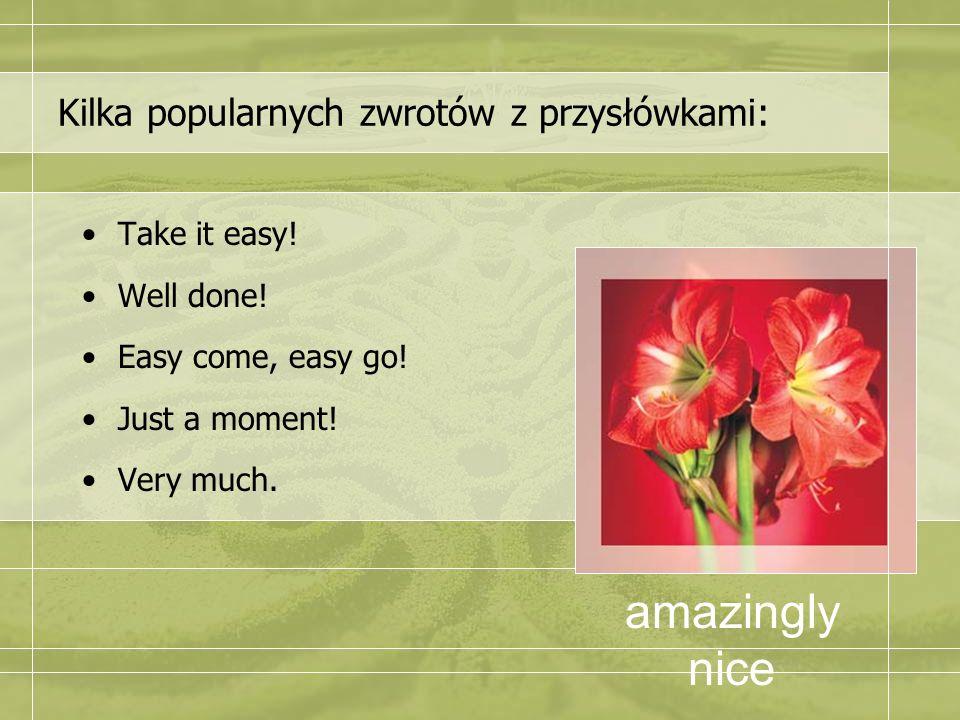 Kilka popularnych zwrotów z przysłówkami: Take it easy! Well done! Easy come, easy go! Just a moment! Very much. amazingly nice