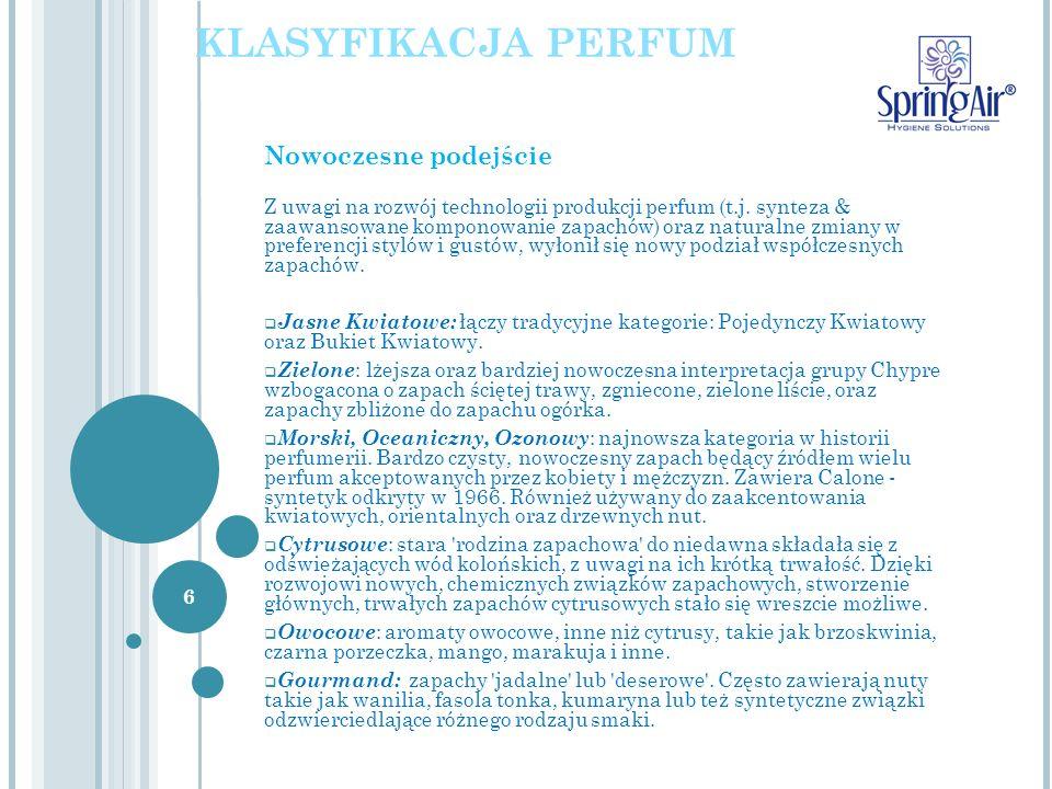 Nowoczesne podejście Z uwagi na rozwój technologii produkcji perfum (t.j. synteza & zaawansowane komponowanie zapachów) oraz naturalne zmiany w prefer