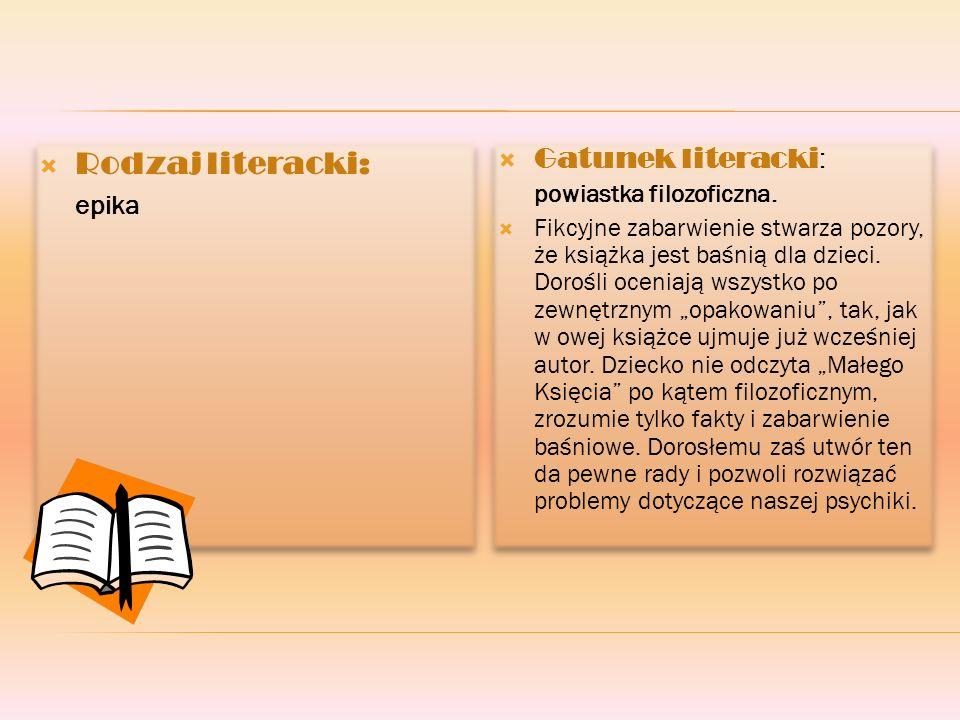 Rodzaj literacki: epika Rodzaj literacki: epika Gatunek literacki : powiastka filozoficzna.