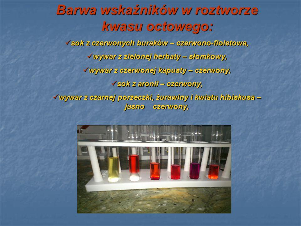 Barwa wskaźników w wodzie destylowanej: sok z czerwonych buraków – fioletowo- niebieski, wywar z zielonej herbaty – słomkowy, wywar z zielonej herbaty – słomkowy, wywar z czerwonej kapusty – niebiesko- fioletowy, wywar z czerwonej kapusty – niebiesko- fioletowy, sok z aronii – czerwony, sok z aronii – czerwony, kwiat hibiskusa - czerwony kwiat hibiskusa - czerwony wywar z czarnej porzeczki, żurawiny – jasnoczerwony.