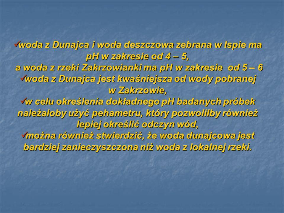 woda z Dunajca i woda deszczowa zebrana w Ispie ma pH w zakresie od 4 – 5, woda z Dunajca i woda deszczowa zebrana w Ispie ma pH w zakresie od 4 – 5,