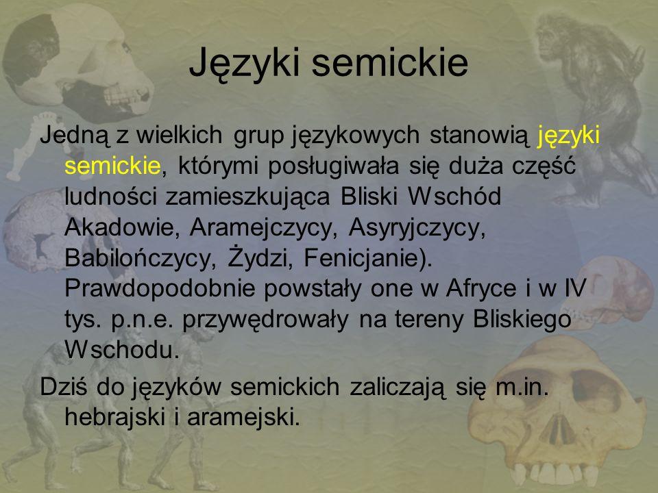 Języki semickie Jedną z wielkich grup językowych stanowią języki semickie, którymi posługiwała się duża część ludności zamieszkująca Bliski Wschód Aka