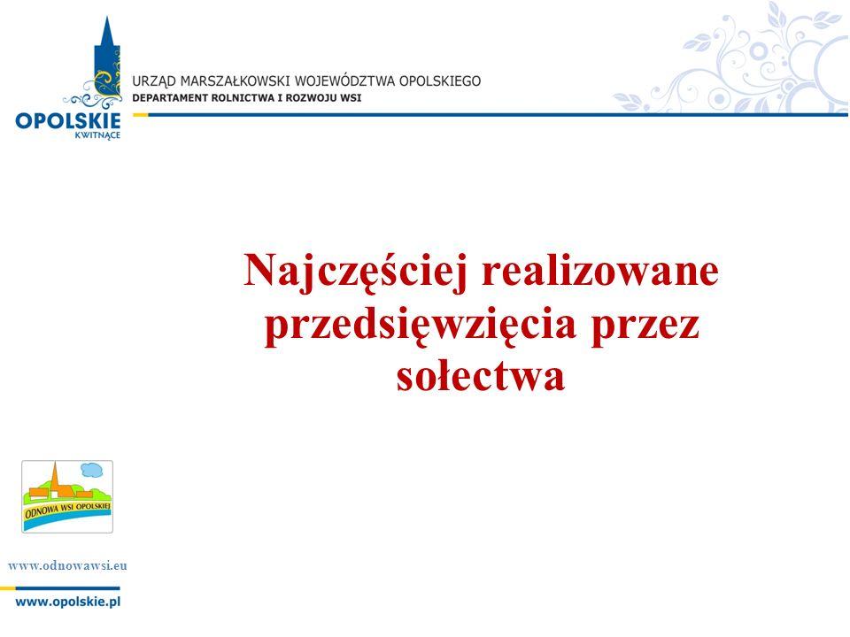 www.odnowawsi.eu Najczęściej realizowane przedsięwzięcia przez sołectwa