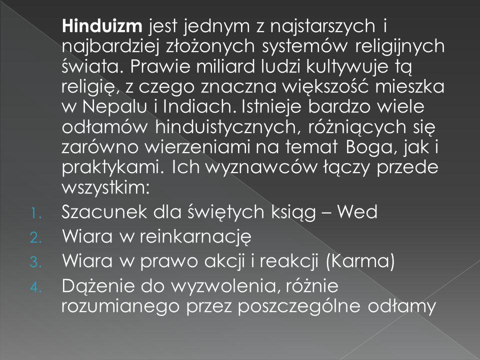 Różne odłamy hinduizmu zawierają cechy : - Monoteizmu (wiara w jednego boga) - Monizmu (wszystko jest tego samego pochodzenia) - Panteizmu (Bóg jest obecny na świecie jako istota żywa) - Henoteizmu (kult istot boskich, jedna jest najwyższym bogiem, pozostałe są jej podporządkowane) - Panenteizmu (świat jest częścią Boga, Bóg zawiera świat, ale jest czymś większym)
