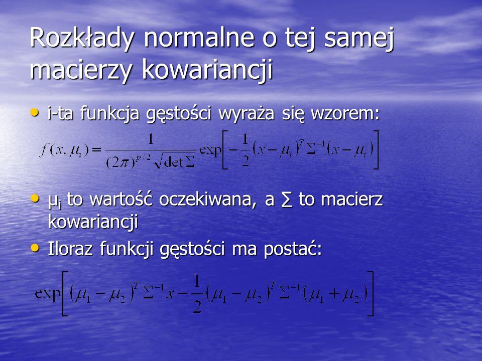 Rozkłady normalne o tej samej macierzy kowariancji i-ta funkcja gęstości wyraża się wzorem: i-ta funkcja gęstości wyraża się wzorem: µ i to wartość oc