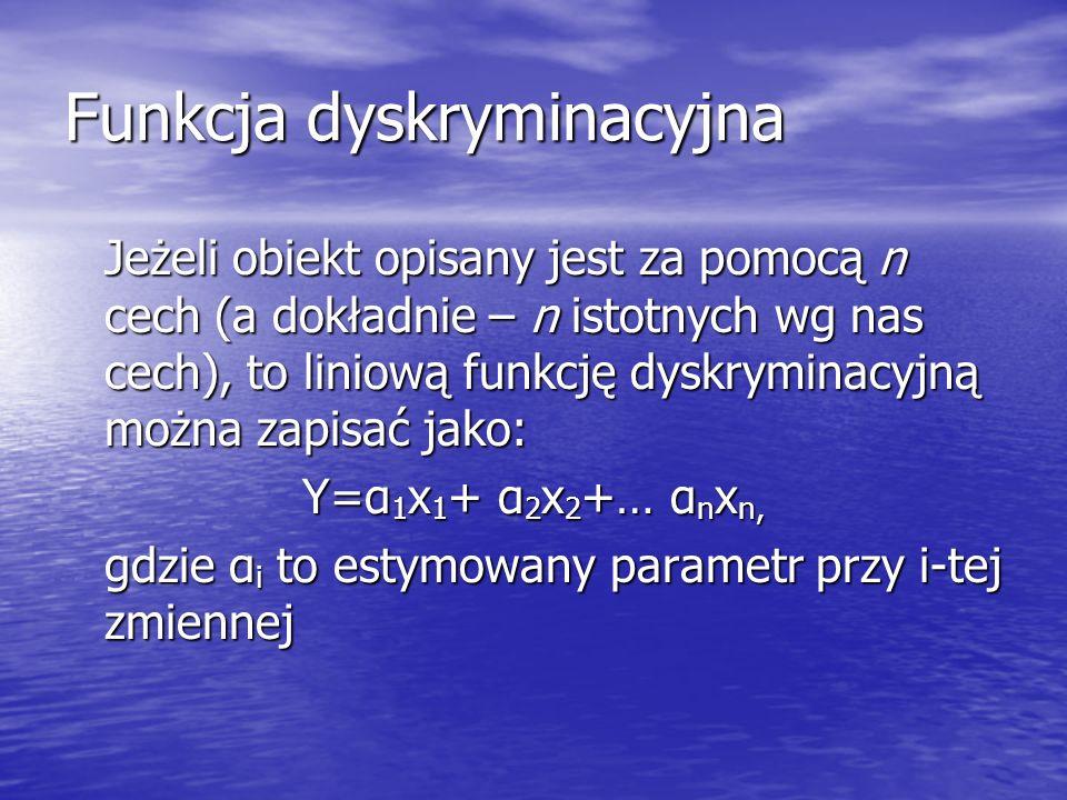 Funkcja dyskryminacyjna Jeżeli obiekt opisany jest za pomocą n cech (a dokładnie – n istotnych wg nas cech), to liniową funkcję dyskryminacyjną można