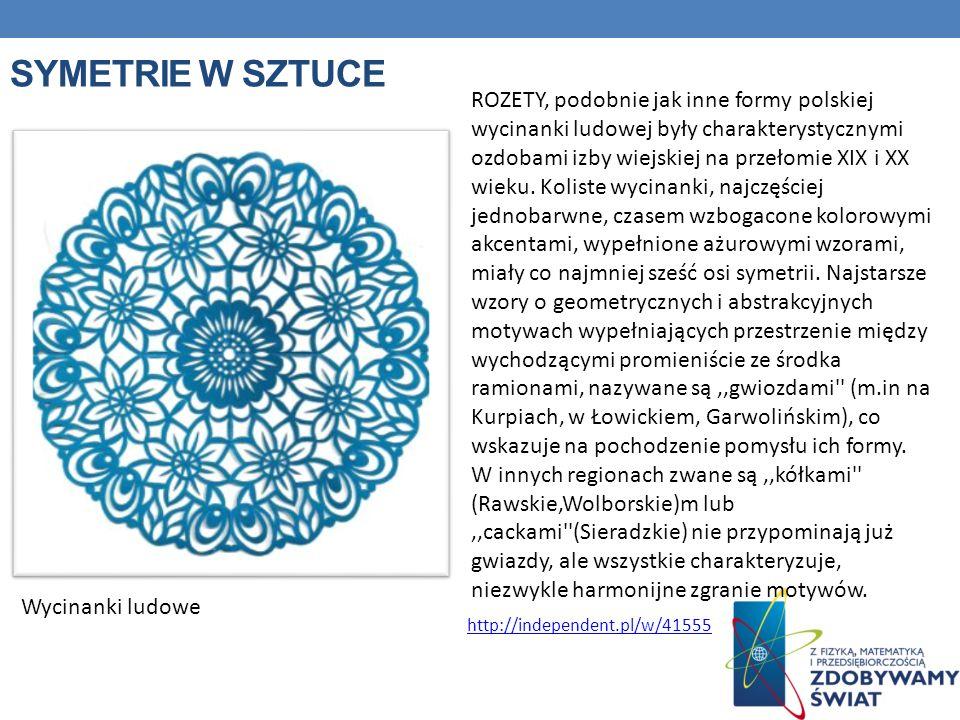 SYMETRIE W SZTUCE Wycinanki ludowe ROZETY, podobnie jak inne formy polskiej wycinanki ludowej były charakterystycznymi ozdobami izby wiejskiej na prze