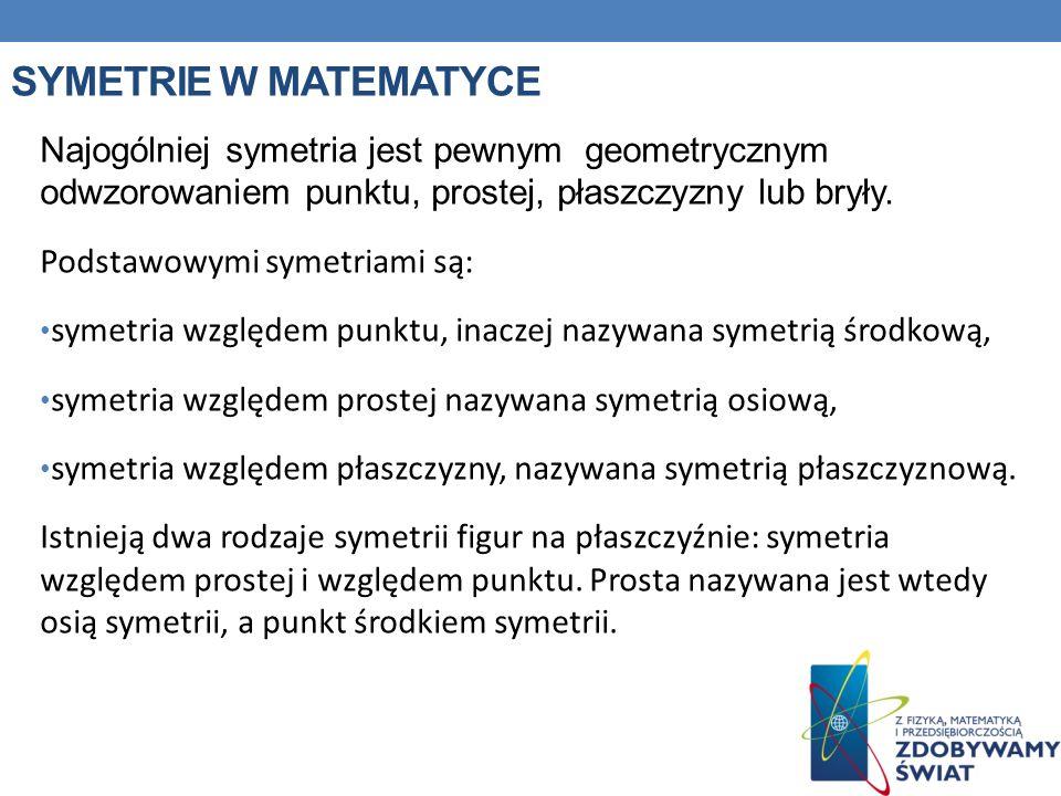 SYMETRIE W MATEMATYCE Najogólniej symetria jest pewnym geometrycznym odwzorowaniem punktu, prostej, płaszczyzny lub bryły. Podstawowymi symetriami są: