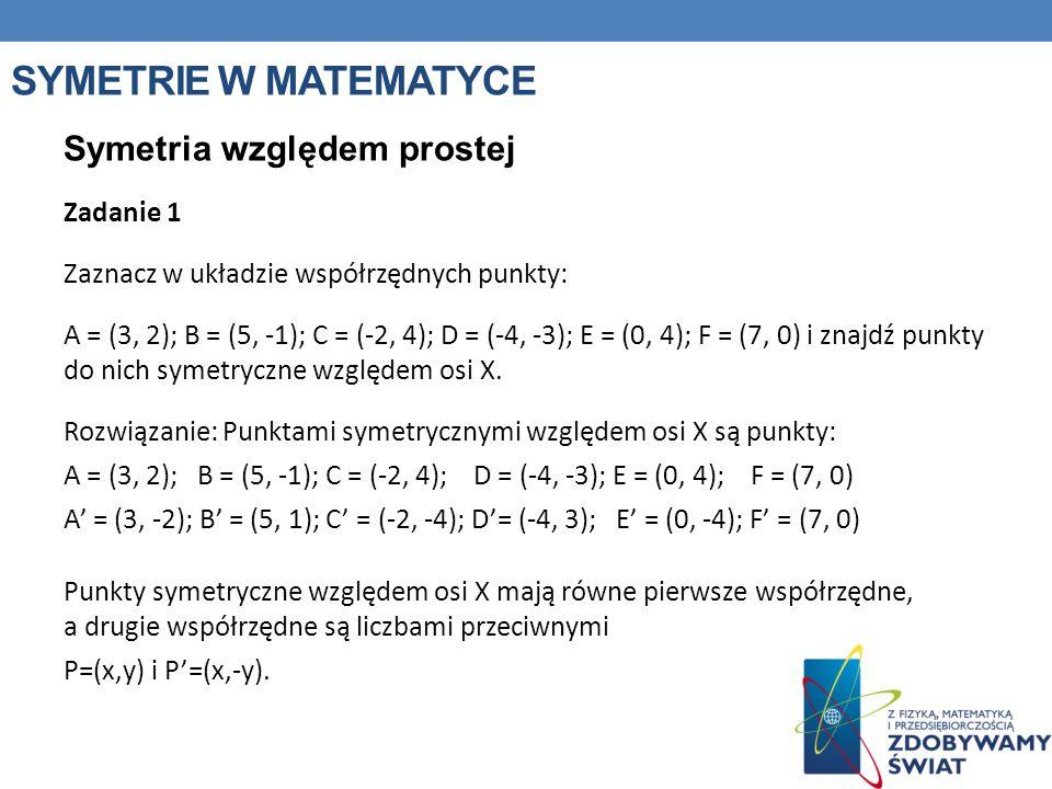 SYMETRIE W MATEMATYCE Symetria względem prostej Zadanie 1 Zaznacz w układzie współrzędnych punkty: A = (3, 2); B = (5, -1); C = (-2, 4); D = (-4, -3);