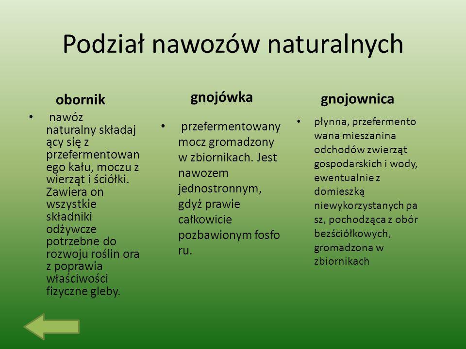 Podział nawozów naturalnych obornik nawóz naturalny składaj ący się z przefermentowan ego kału, moczu z wierząt i ściółki.