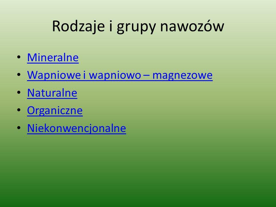 Rodzaje i grupy nawozów Mineralne Wapniowe i wapniowo – magnezowe Naturalne Organiczne Niekonwencjonalne
