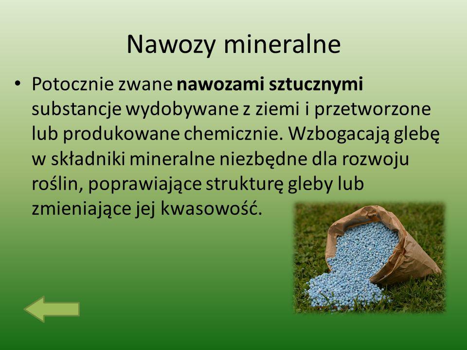 Nawozy mineralne Potocznie zwane nawozami sztucznymi substancje wydobywane z ziemi i przetworzone lub produkowane chemicznie.