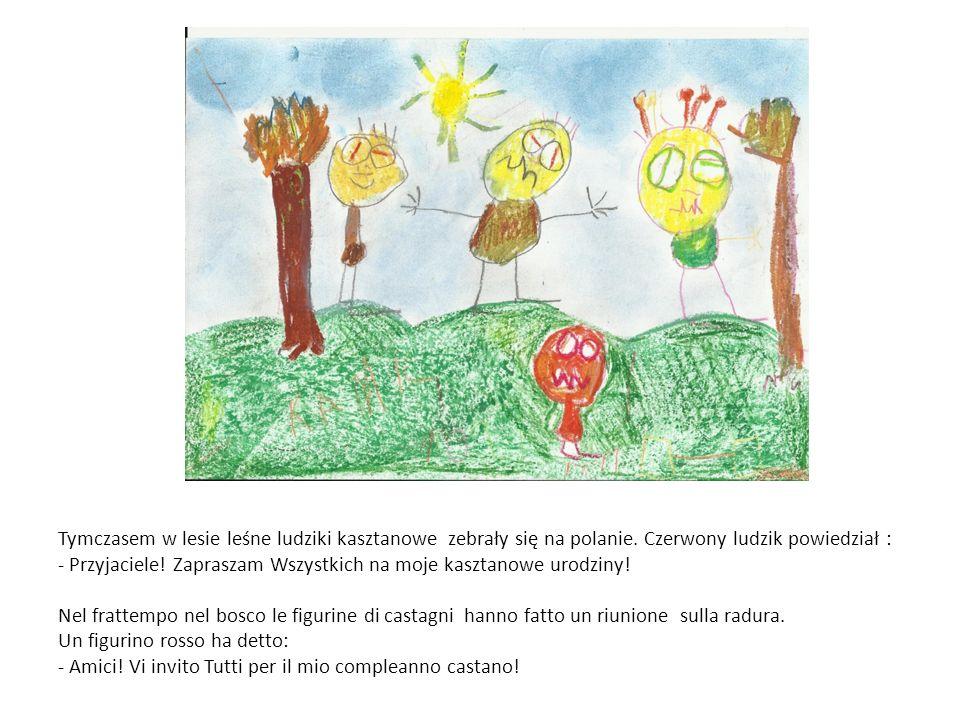 Tymczasem w lesie leśne ludziki kasztanowe zebrały się na polanie.