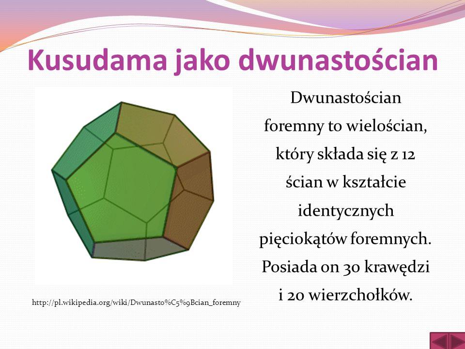 Kusudama jako dwunastościan Dwunastościan foremny to wielościan, który składa się z 12 ścian w kształcie identycznych pięciokątów foremnych. Posiada o
