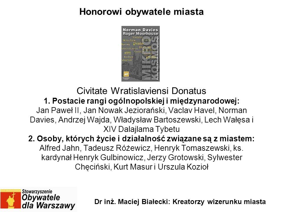 Honorowi obywatele miasta Civitate Wratislaviensi Donatus 1. Postacie rangi ogólnopolskiej i międzynarodowej: Jan Paweł II, Jan Nowak Jeziorański, Vac