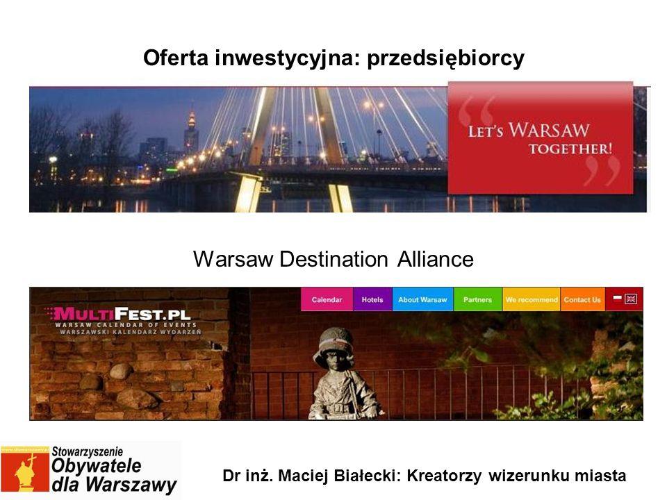 Oferta inwestycyjna: przedsiębiorcy Warsaw Destination Alliance Dr inż. Maciej Białecki: Kreatorzy wizerunku miasta
