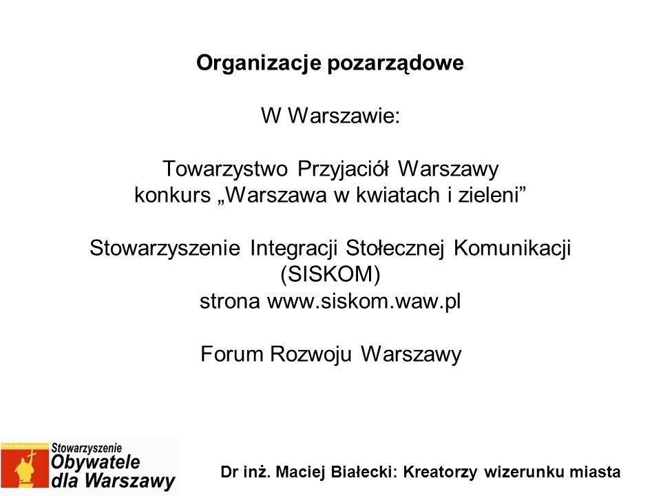 Organizacje pozarządowe W Warszawie: Towarzystwo Przyjaciół Warszawy konkurs Warszawa w kwiatach i zieleni Stowarzyszenie Integracji Stołecznej Komuni