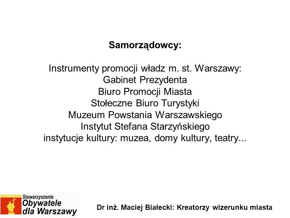 Samorządowcy: Instrumenty promocji władz m. st. Warszawy: Gabinet Prezydenta Biuro Promocji Miasta Stołeczne Biuro Turystyki Muzeum Powstania Warszaws