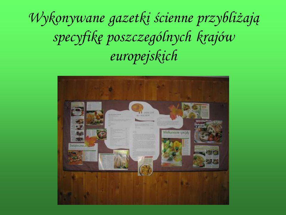 Wykonywane gazetki ścienne przybliżają specyfikę poszczególnych krajów europejskich