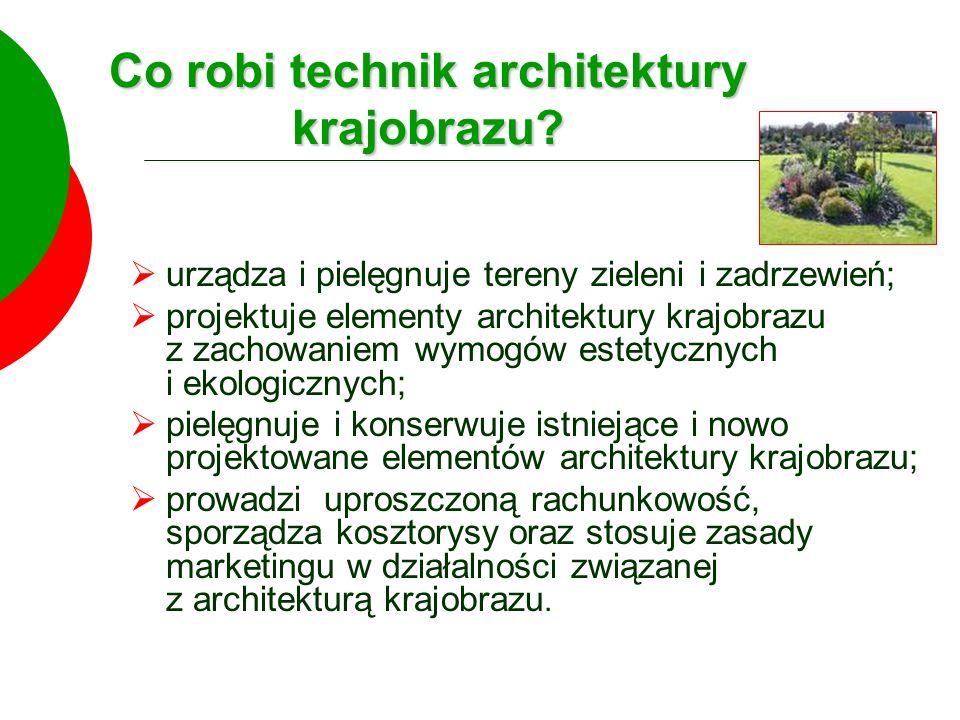 Zajęcia w szkolnych pracowniach: Szkoła kształcąca w zawodzie technik architektury krajobrazu powinna posiadać pracownie: pracownię techniczną; pracownię przyrodniczą; pracownię kształtowania krajobrazu; pracownię ekonomiczną.