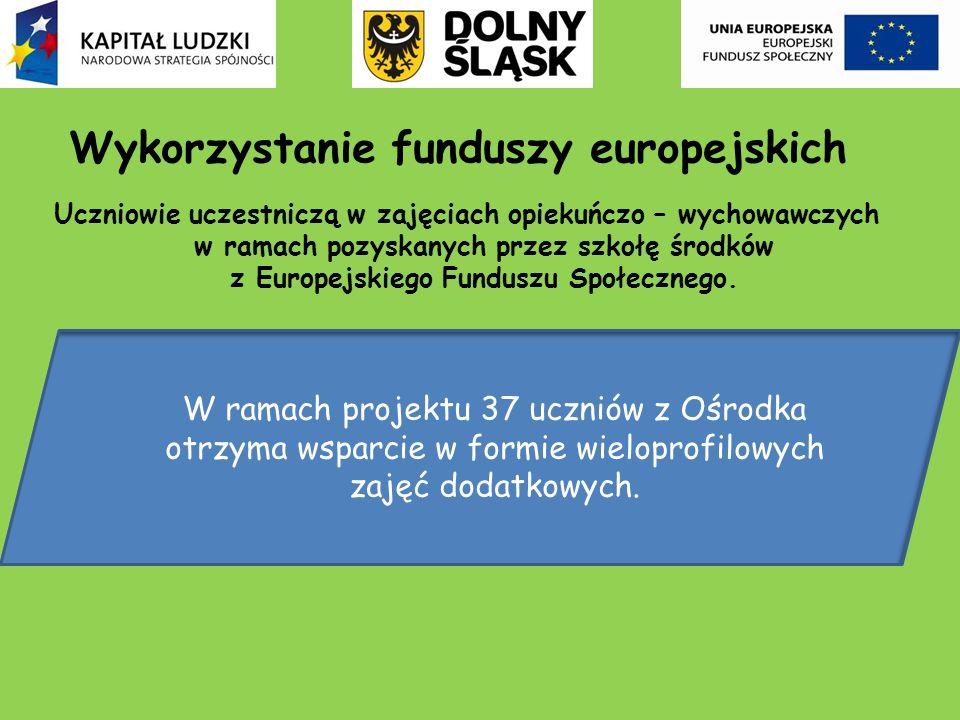 Wykorzystanie funduszy europejskich Uczniowie uczestniczą w zajęciach opiekuńczo – wychowawczych w ramach pozyskanych przez szkołę środków z Europejsk