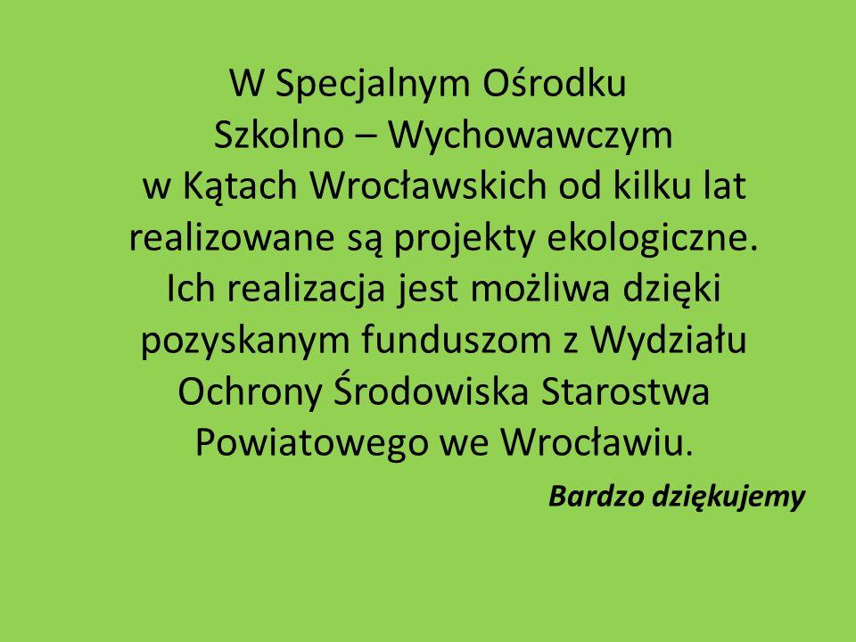 W Specjalnym Ośrodku Szkolno – Wychowawczym w Kątach Wrocławskich od kilku lat realizowane są projekty ekologiczne. Ich realizacja jest możliwa dzięki
