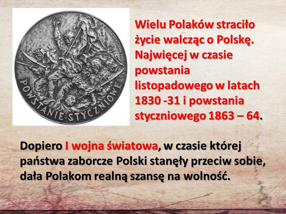 Wielu Polaków straciło życie walcząc o Polskę. Najwięcej w czasie powstania listopadowego w latach 1830 -31 i powstania styczniowego 1863 – 64. Dopier