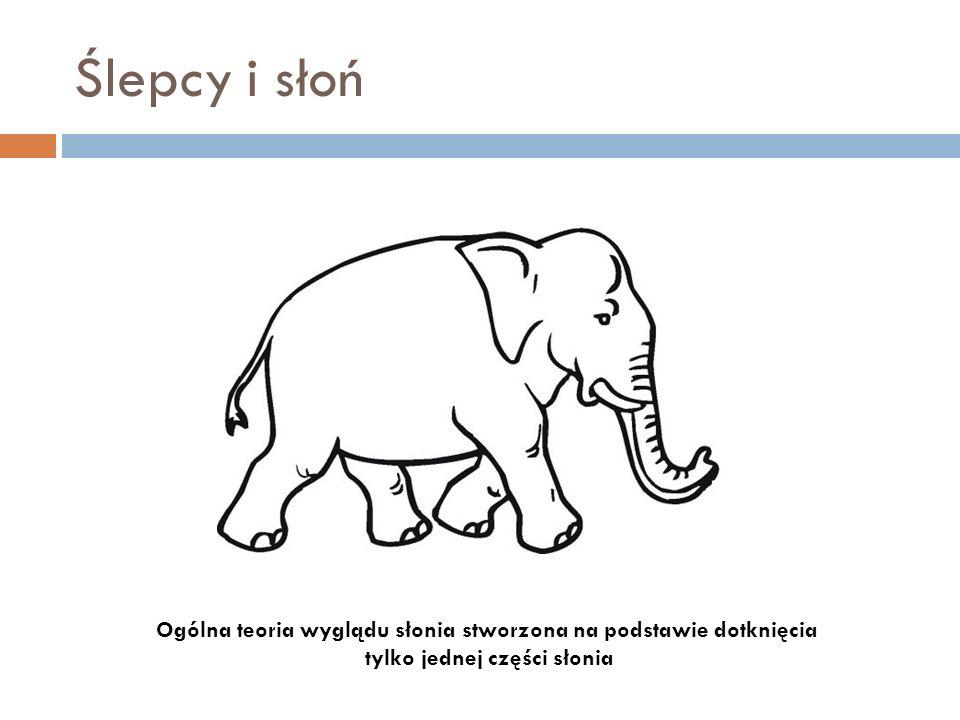 Ślepcy i słoń Ogólna teoria wyglądu słonia stworzona na podstawie dotknięcia tylko jednej części słonia