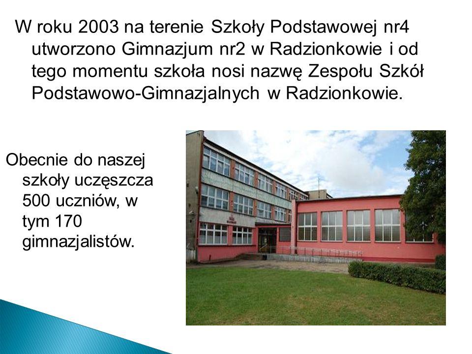 W roku 2003 na terenie Szkoły Podstawowej nr4 utworzono Gimnazjum nr2 w Radzionkowie i od tego momentu szkoła nosi nazwę Zespołu Szkół Podstawowo-Gimn