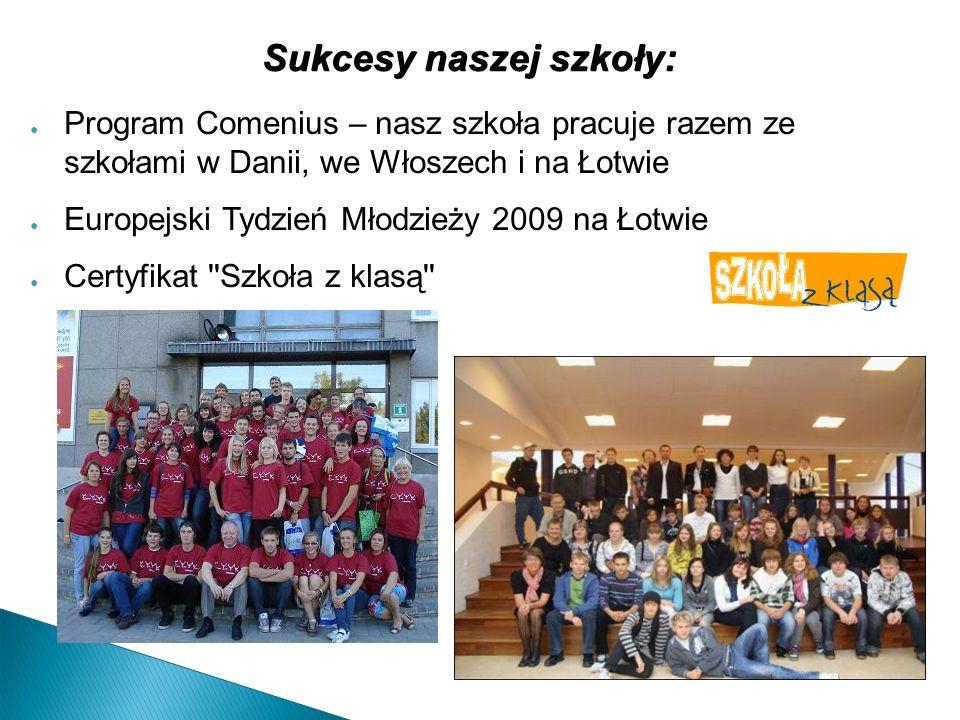 Sukcesy naszej szkoły: Program Comenius – nasz szkoła pracuje razem ze szkołami w Danii, we Włoszech i na Łotwie Europejski Tydzień Młodzieży 2009 na