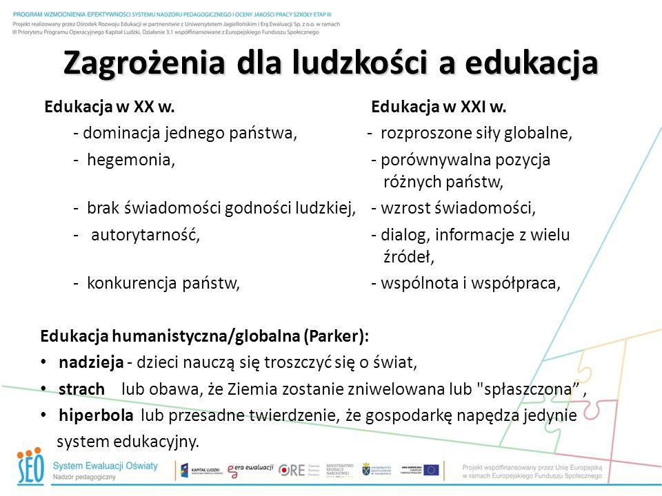 Zagrożenia dla ludzkości a edukacja Edukacja w XX w.Edukacja w XXI w.