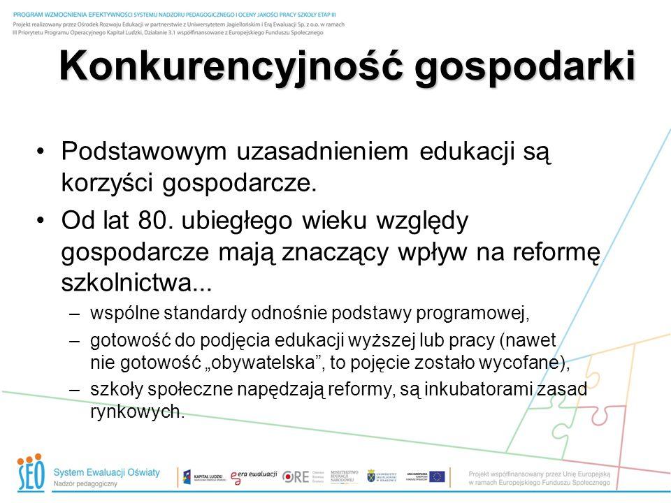 Konkurencyjność gospodarki Podstawowym uzasadnieniem edukacji są korzyści gospodarcze.