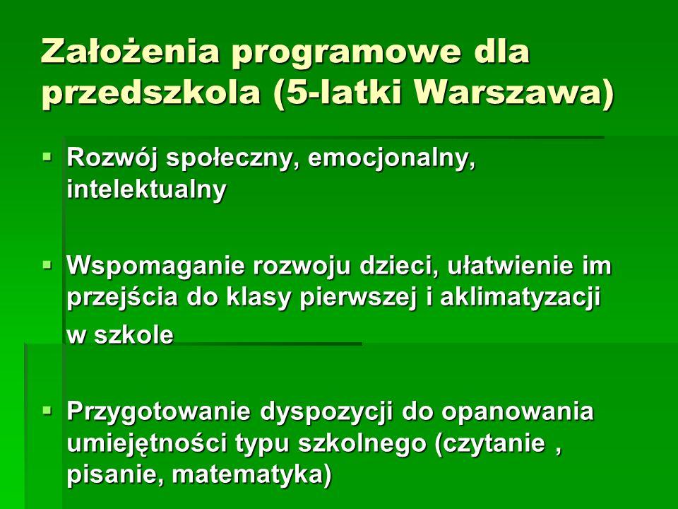 Założenia programowe dla przedszkola (5-latki Warszawa) Rozwój społeczny, emocjonalny, intelektualny Rozwój społeczny, emocjonalny, intelektualny Wspo