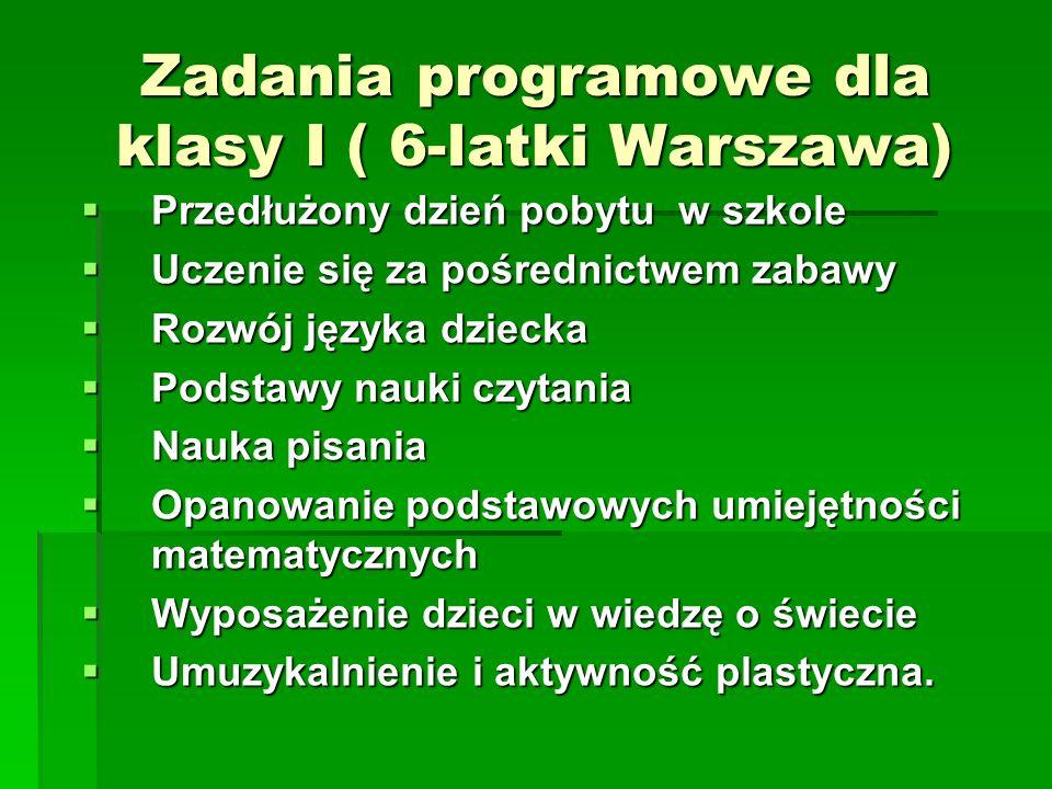 Zadania programowe dla klasy I ( 6-latki Warszawa) Przedłużony dzień pobytu w szkole Przedłużony dzień pobytu w szkole Uczenie się za pośrednictwem za