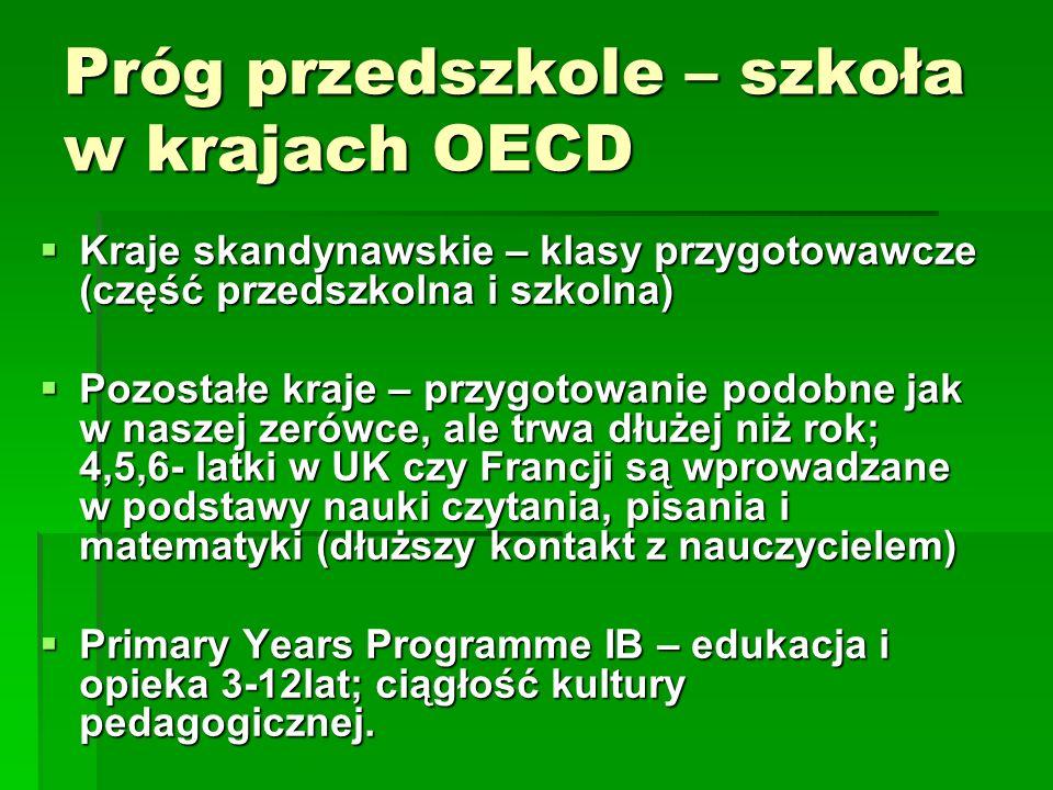 Próg przedszkole – szkoła w krajach OECD Kraje skandynawskie – klasy przygotowawcze (część przedszkolna i szkolna) Kraje skandynawskie – klasy przygot