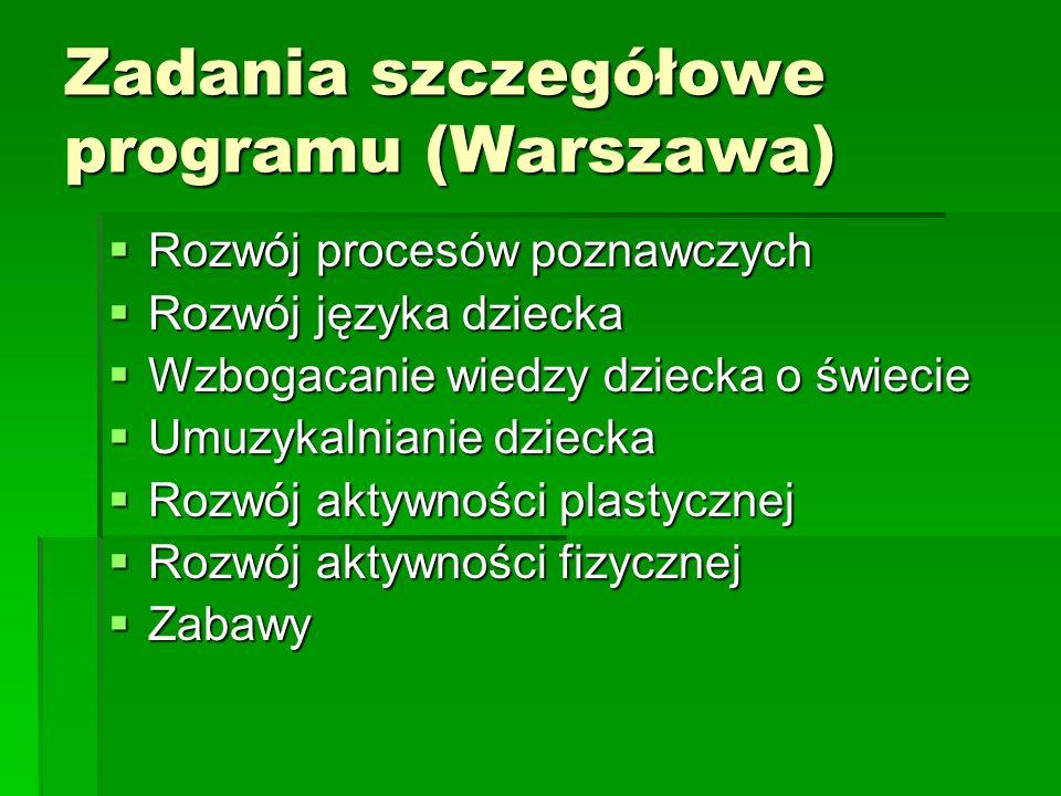 Zadania szczegółowe programu (Warszawa) Rozwój procesów poznawczych Rozwój procesów poznawczych Rozwój języka dziecka Rozwój języka dziecka Wzbogacani