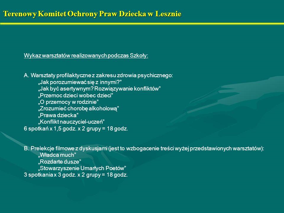 Terenowy Komitet Ochrony Praw Dziecka w Lesznie Wykaz warsztatów realizowanych podczas Szkoły: A. Warsztaty profilaktyczne z zakresu zdrowia psychiczn