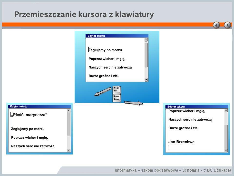 Informatyka – szkoła podstawowa – Scholaris - © DC Edukacja Przemieszczanie kursora z klawiatury
