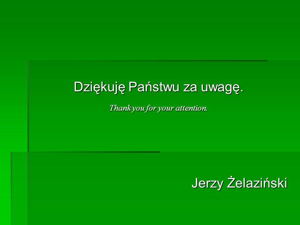 Dziękuję Państwu za uwagę. Thank you for your attention. Jerzy Żelaziński