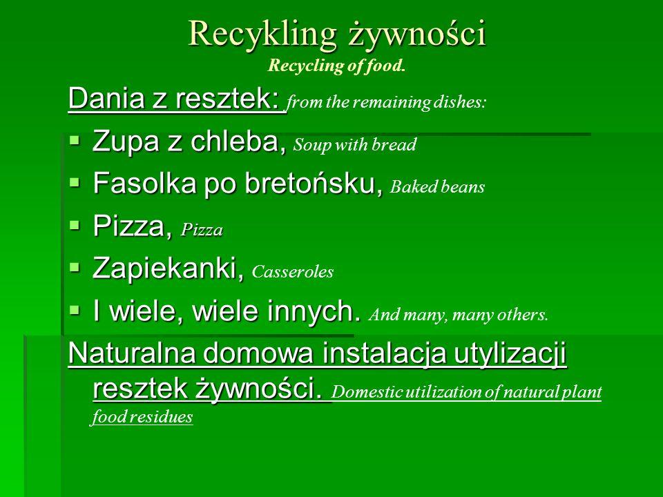 Recykling żywności Recykling żywności Recycling of food. Dania z resztek: Dania z resztek: from the remaining dishes: Zupa z chleba, Zupa z chleba, So