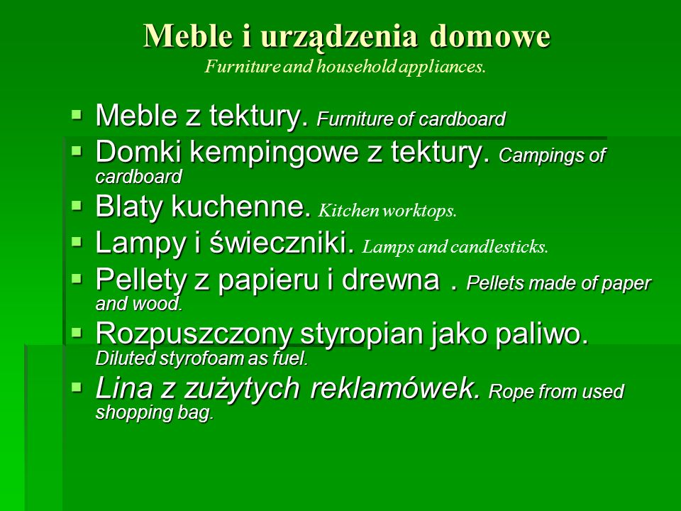 Meble i urządzenia domowe Meble i urządzenia domowe Furniture and household appliances. Meble z tektury. Furniture of cardboard Meble z tektury. Furni